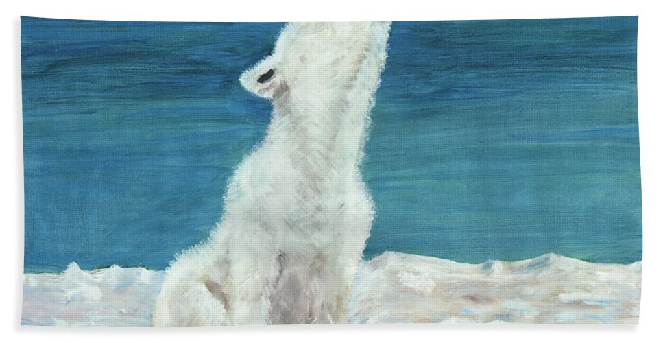 Dog Beach Towel featuring the painting Polar Pup by Terry Lewey