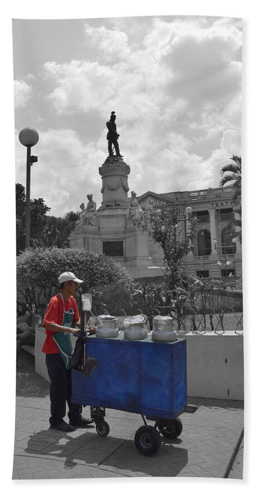 Centro Historico Beach Towel featuring the photograph Poleada Vendor by Totto Ponce