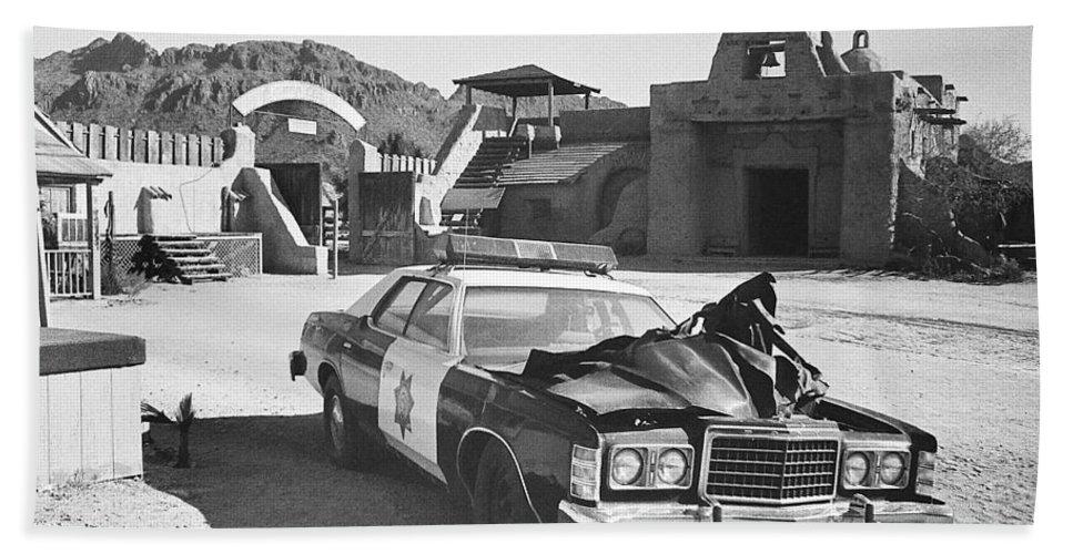 Police Car From Cannon Ball Run 2 Spanish Mission Old Tucson Arizona 1984  Beach Towel