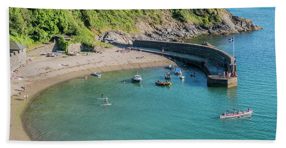 Polkerris Beach Towel featuring the photograph Polkerris Beach And Harbour by Hazy Apple