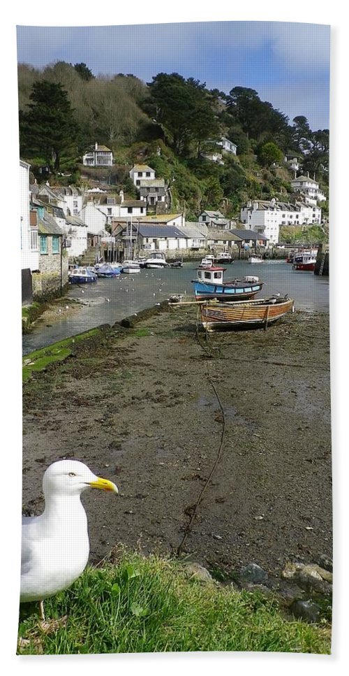 Polperro Beach Towel featuring the photograph Polperro Harbour Cornwall And Seagull by Richard Brookes