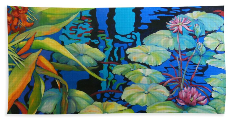 Top Artist Beach Towel featuring the painting Pond 1 Pond Series by Sharon Nelson-Bianco