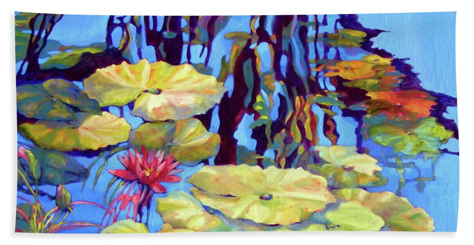Top Artist Beach Towel featuring the painting Pond 2 Pond Series by Sharon Nelson-Bianco