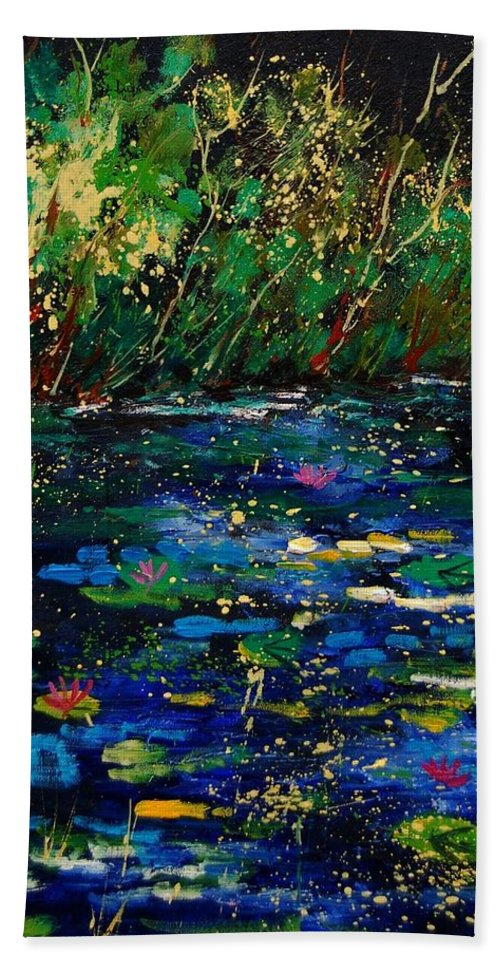 Water Beach Sheet featuring the painting Pond 459030 by Pol Ledent