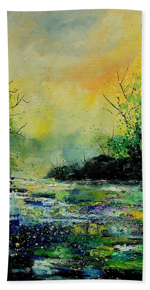 Water Beach Sheet featuring the painting Pond 459060 by Pol Ledent