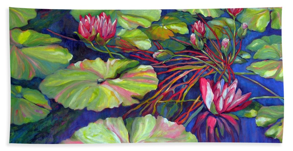 Contemporary Art Beach Towel featuring the painting Pond 8 Pond Series by Sharon Nelson-Bianco