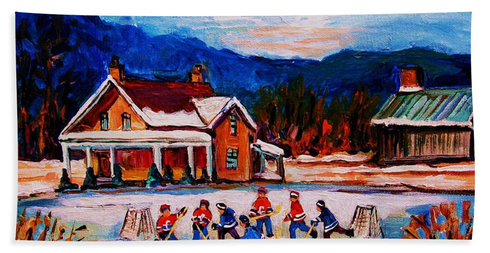 Hockey Beach Sheet featuring the painting Pond Hockey by Carole Spandau