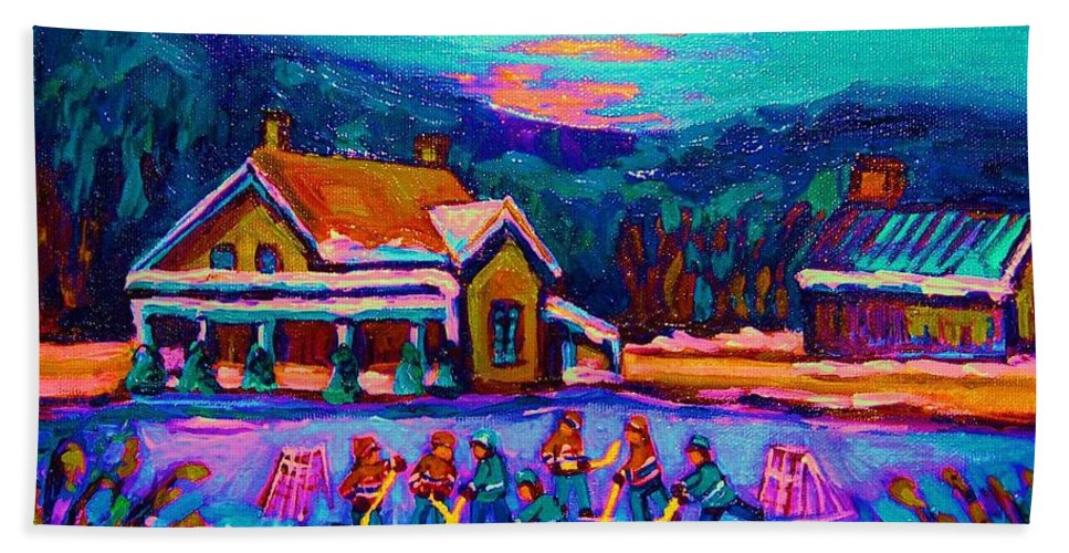 Pond Hockey Beach Towel featuring the painting Pond Hockey Two by Carole Spandau