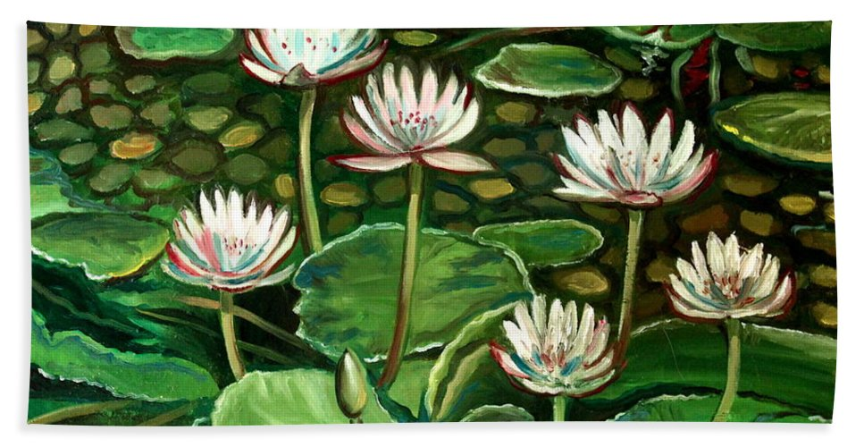 Water Beach Towel featuring the painting Pond Of Petals by Elizabeth Robinette Tyndall