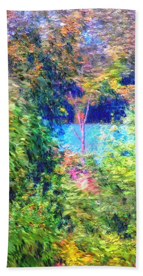 Digital Photograph Beach Towel featuring the photograph Pond Overlook by David Lane