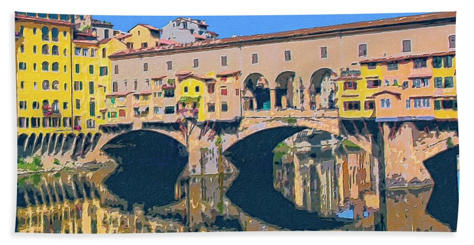 Ponte Vecchio Beach Towel featuring the painting Ponte Vecchio Florence by Dominic Piperata