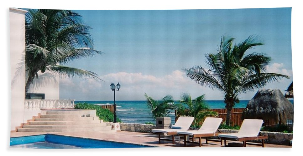 Resort Beach Towel featuring the photograph Poolside by Anita Burgermeister