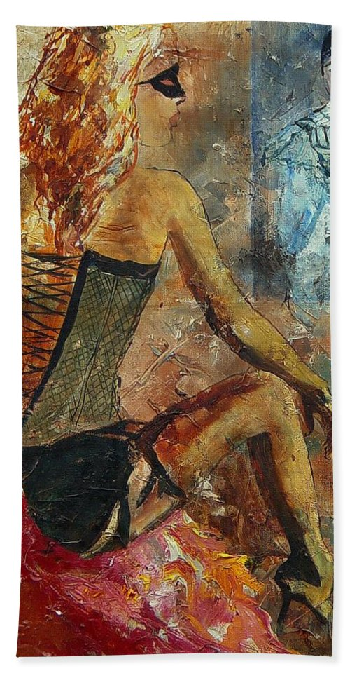 Girl Beach Towel featuring the painting Poor Pierrot by Pol Ledent