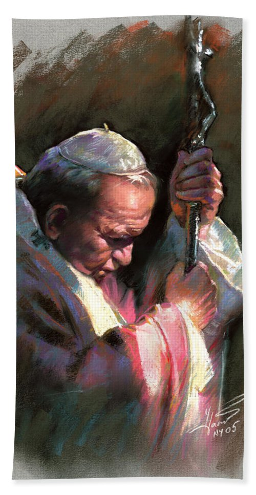 Portrait Beach Towel featuring the pastel Pope John Paul II by Ylli Haruni