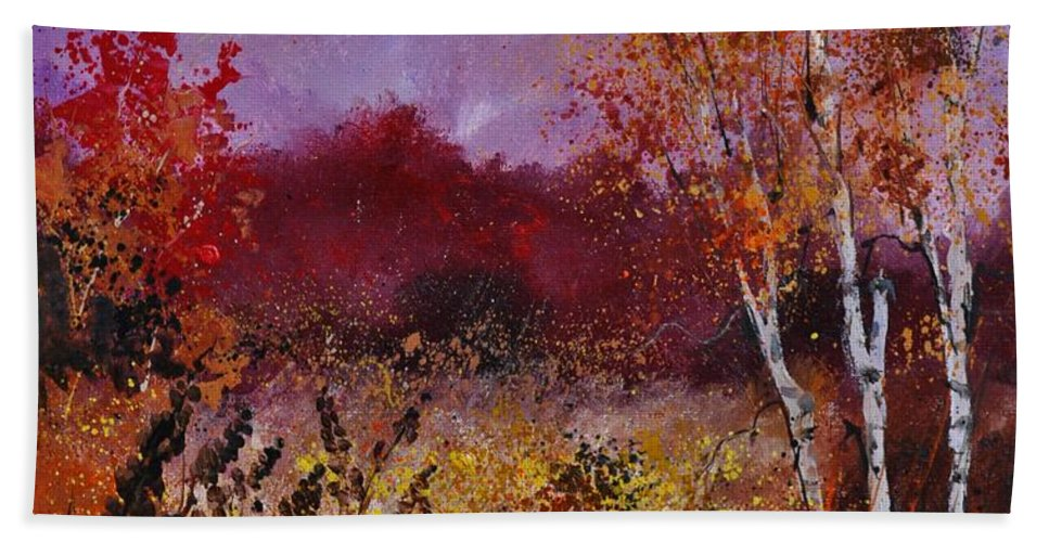 Landscape Beach Towel featuring the painting Poplars In Autumn by Pol Ledent