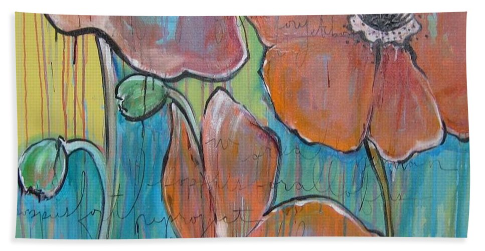 Pop Art Beach Sheet featuring the painting Poppies 3 by Laurie Maves ART