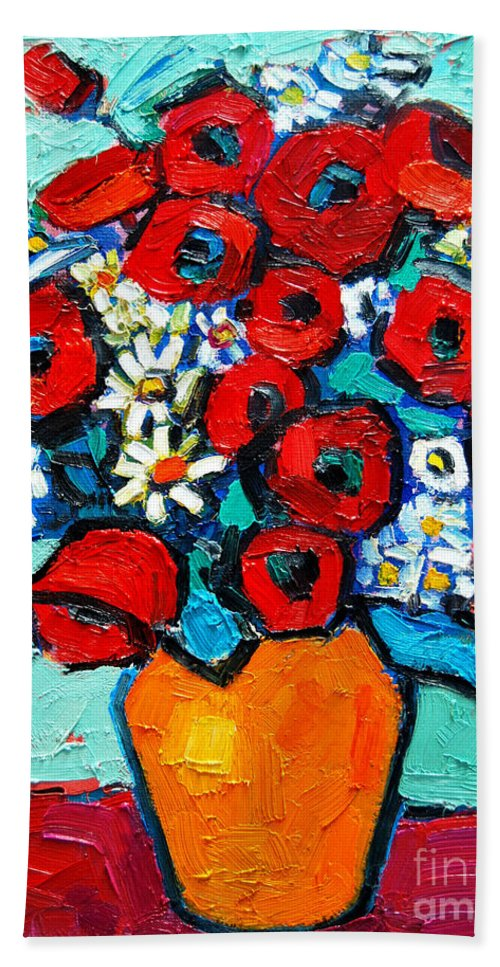 Floral Beach Towel featuring the painting Poppies And Daisies Bouquet by Ana Maria Edulescu