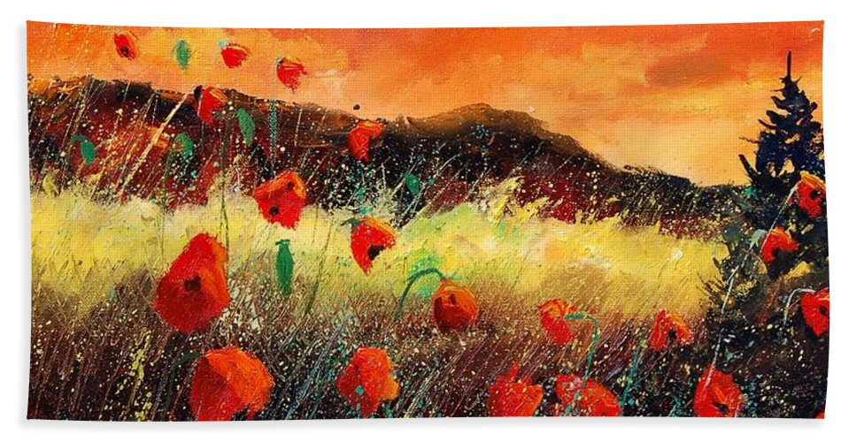 Poppies Beach Sheet featuring the painting Poppies At Sunset 67 by Pol Ledent