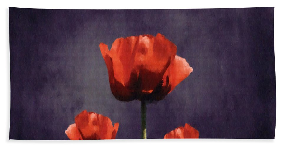 Poppies Beach Towel featuring the digital art Poppies Fun 01b by Variance Collections