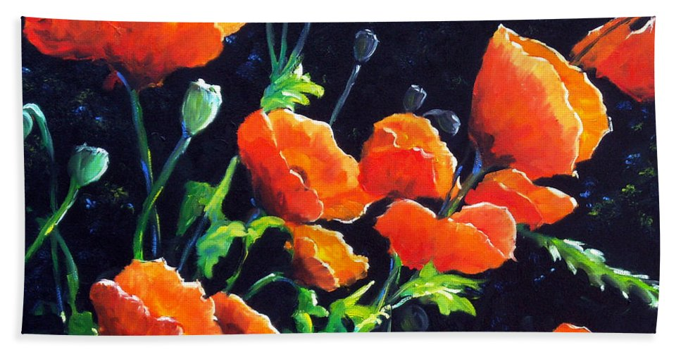 Pavot Beach Sheet featuring the painting Poppies In The Light by Richard T Pranke