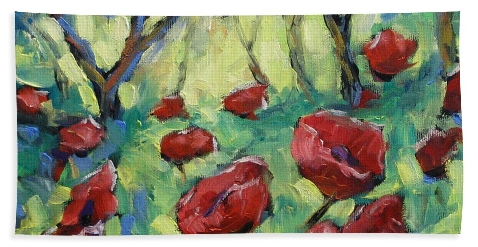 Art Beach Sheet featuring the painting Poppies Through The Forest by Richard T Pranke