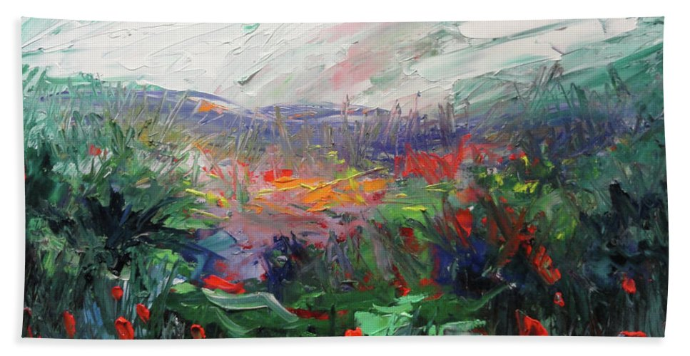 Flowers Beach Towel featuring the painting Poppy Dream by Shannon Grissom