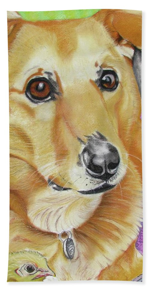 Dog Painting Beach Towel featuring the painting Poppy by Michelle Hayden-Marsan