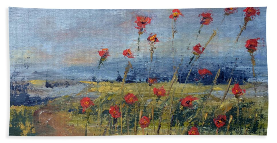 Poppy Red Flower Sky Overlook Green Dirt Road Landscape Beach Towel featuring the painting Poppy Overlook by Patricia Caldwell