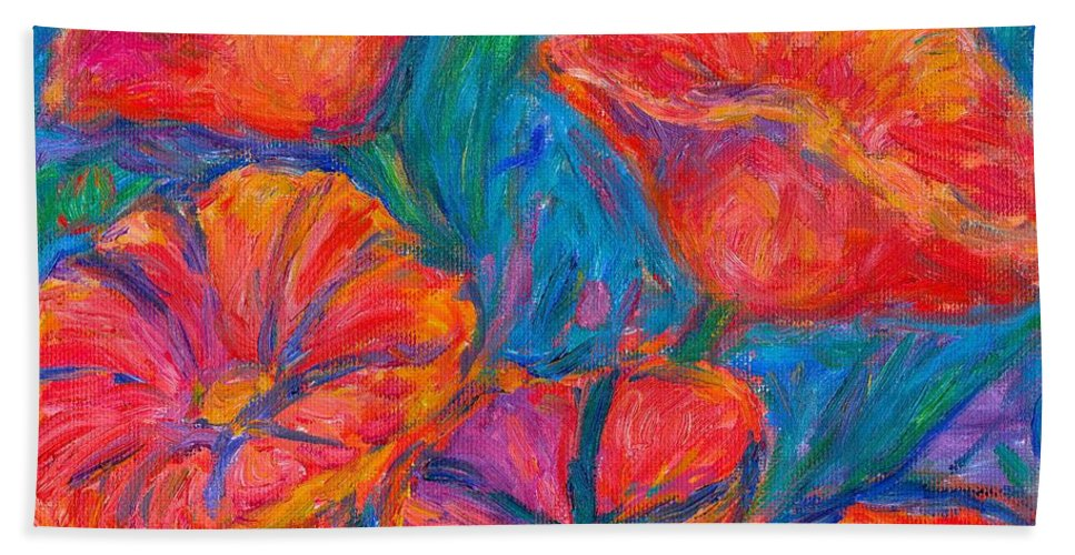 Flower Beach Towel featuring the painting Poppy Twirl by Kendall Kessler