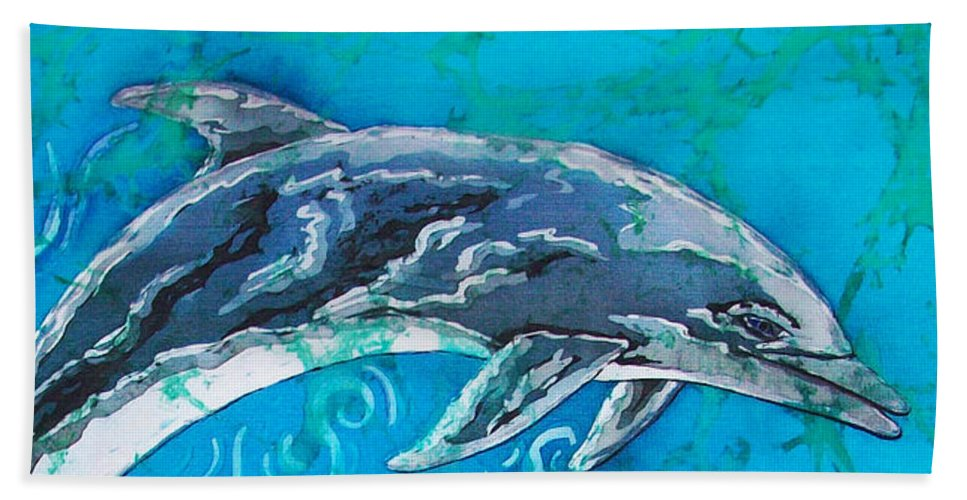 Porpoise Beach Towel featuring the painting Porpoise Pair - Close Up by Sue Duda
