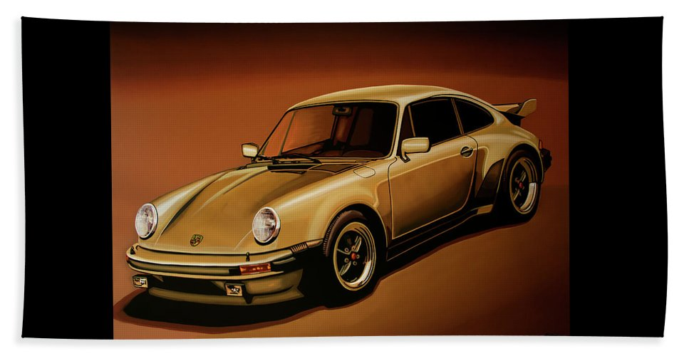 Porsche 911 Beach Towel featuring the painting Porsche 911 Turbo 1976 Painting by Paul Meijering