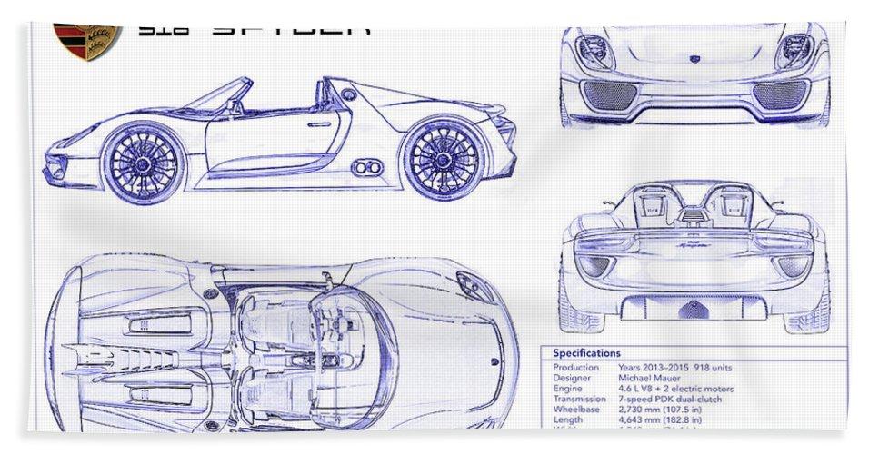 Porsche 918 Spyder Blueprint Beach Towel