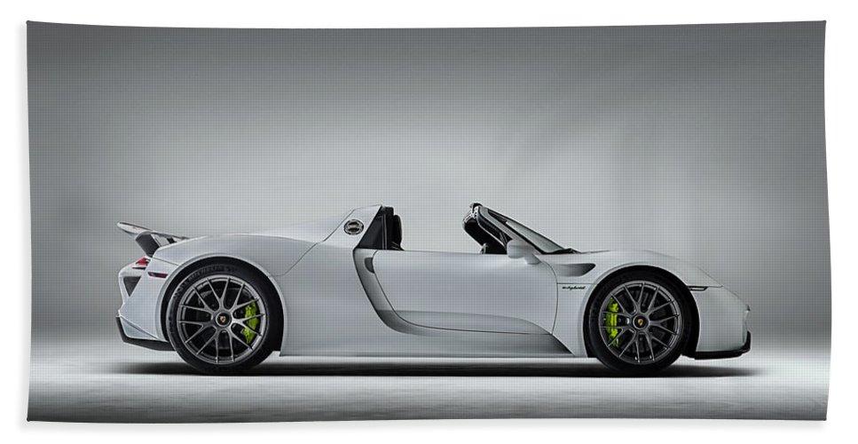Porsche Beach Towel featuring the digital art Porsche 918 Spyder by Douglas Pittman