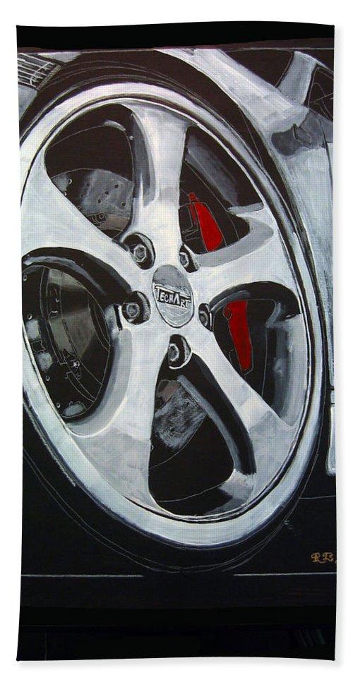 Porsche Beach Towel featuring the painting Porsche Techart Wheel by Richard Le Page