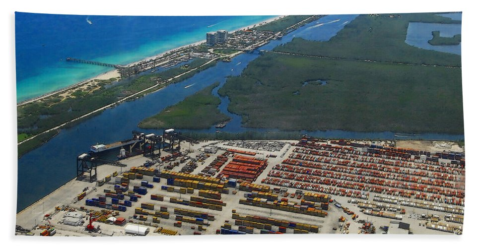 Artwork Beach Towel featuring the painting Port Everglades Florida by David Lee Thompson