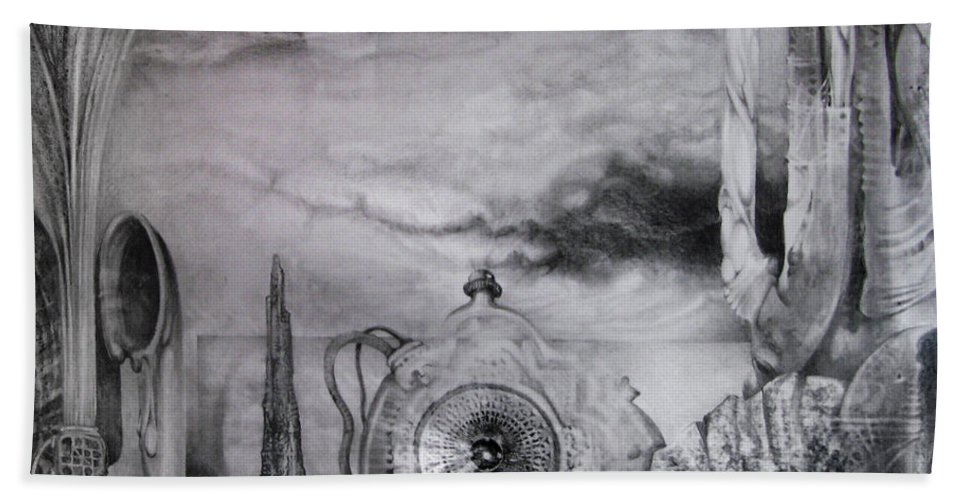 Graphite Drawing Beach Towel featuring the drawing Portal To Bogomils Universe Iv by Otto Rapp