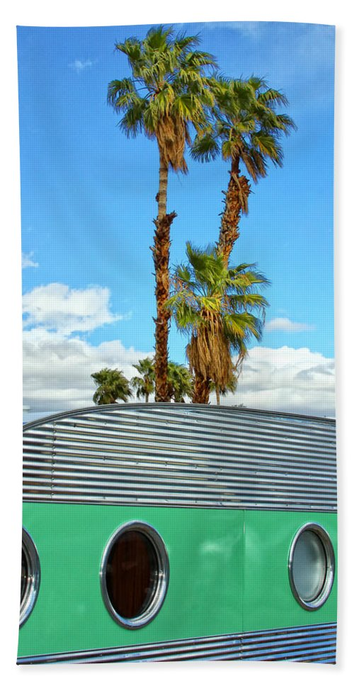Airstream Beach Towel featuring the photograph Portholes Palm Springs by William Dey