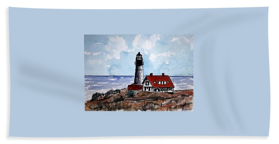 Lighthouse Paintings Beach Towel featuring the painting Portland Head Lighthouse by Derek Mccrea