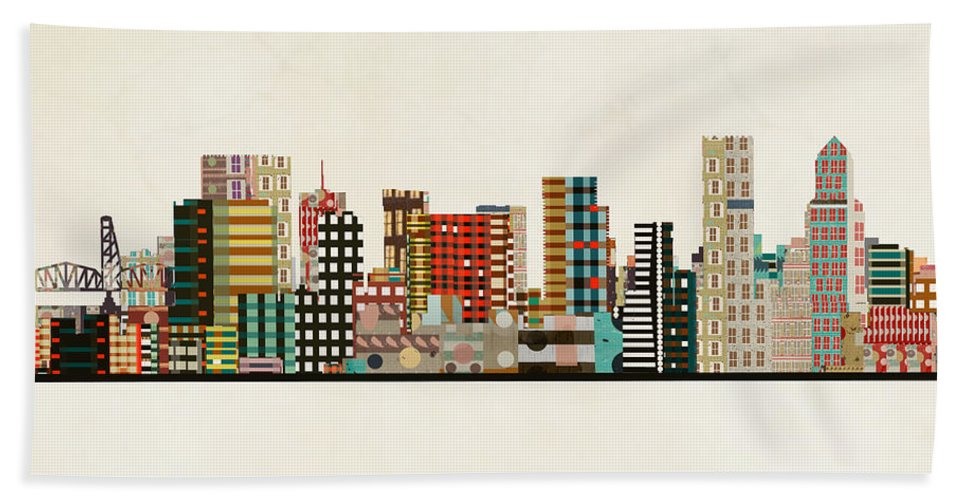 Portland Beach Towel featuring the painting Portland Skyline by Bri Buckley