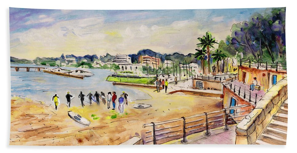 Travel Beach Towel featuring the painting Porto Cristo 01 by Miki De Goodaboom
