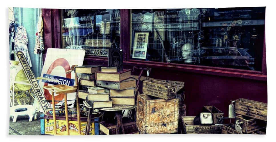 Antique Shop Beach Towel featuring the photograph Portobello Road London Junk Shop by Lynn Bolt