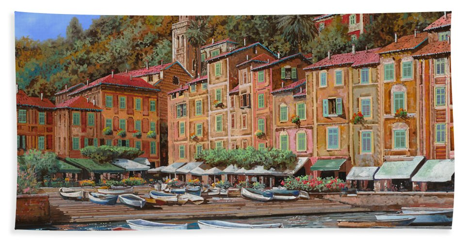 Portofino Beach Sheet featuring the painting Portofino-la Piazzetta E Le Barche by Guido Borelli