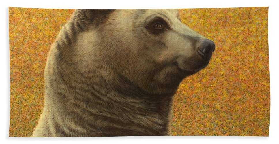 Bear Beach Towel featuring the painting Portrait Of A Bear by James W Johnson