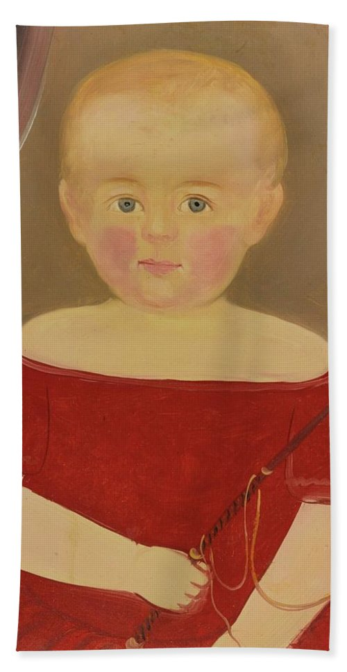 Attributed To William Matthew Prior (1806-1873) Portrait Of A Blonde Boy With Red Dress With Whip Beach Towel featuring the painting Portrait Of A Blonde Boy With Red Dress With Whip by MotionAge Designs