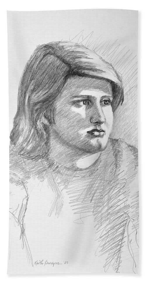 Realism Beach Towel featuring the drawing Portrait Of A Boy by Keith Burgess