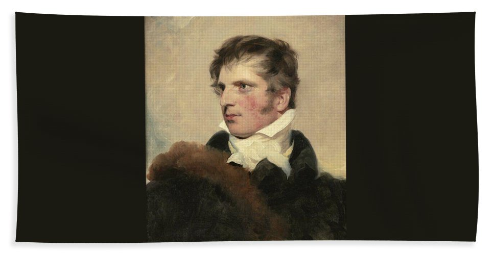 Man Beach Towel featuring the painting Portrait Of A Gentleman, Sir Thomas Lawrence by Artistic Rifki