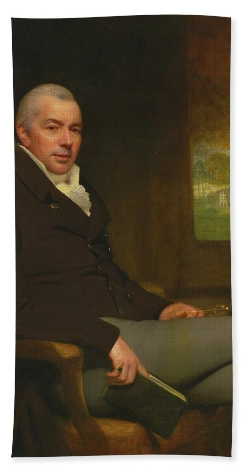 Attributed To Thomas Phillips Beach Towel featuring the painting Portrait Of A Gentleman by Thomas Phillips