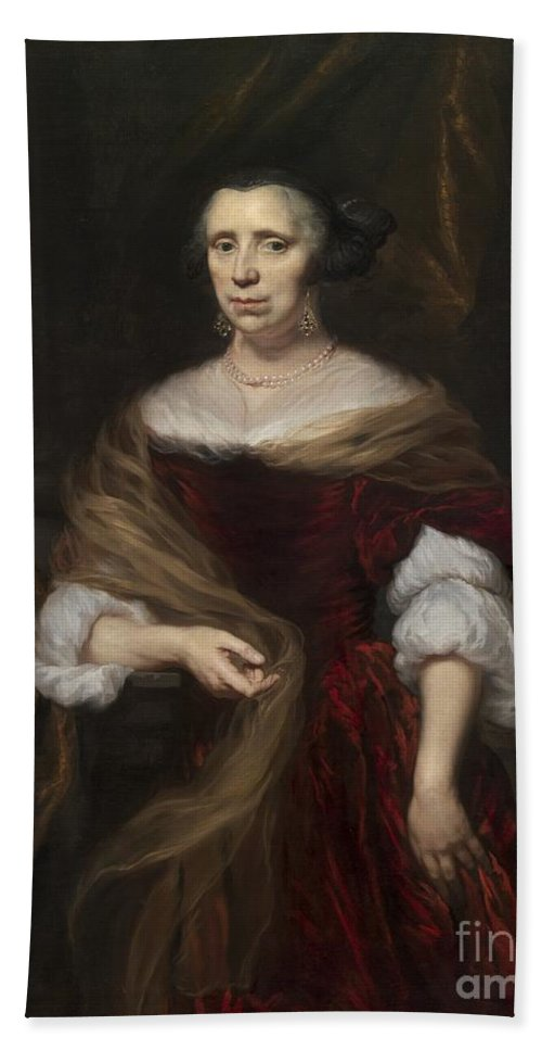 Beach Towel featuring the painting Portrait Of A Lady by Nicolaes Maes