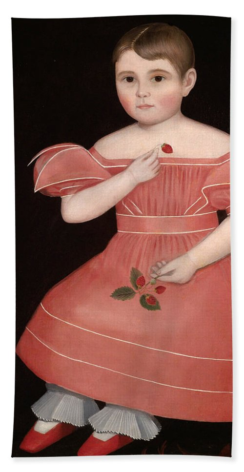 Ammi Phillips Beach Towel featuring the painting Portrait Of A Rosy Cheeked Young Girl In A Pink Dress by Ammi Phillips