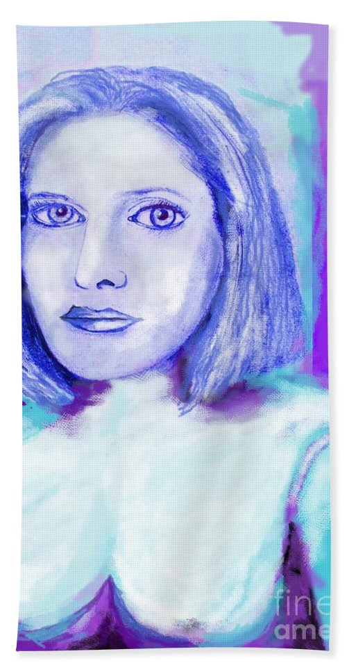 Woman Beach Towel featuring the drawing Portrait Of A Woman by Eric Schiabor